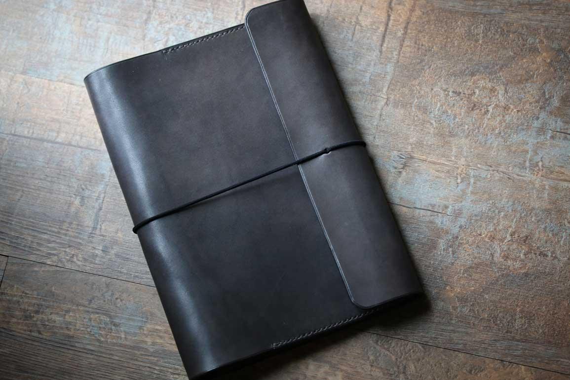 イタリアアラスカレザーグレーB5ノート2冊収納レザー鉄媒染色カバー