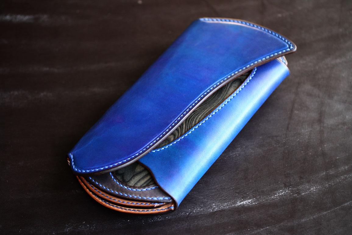 ブルー×スキモレザ財布