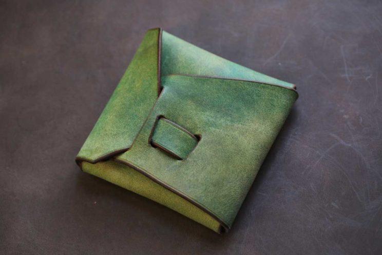 プエブロ風起毛革黄緑シームレスコインケース