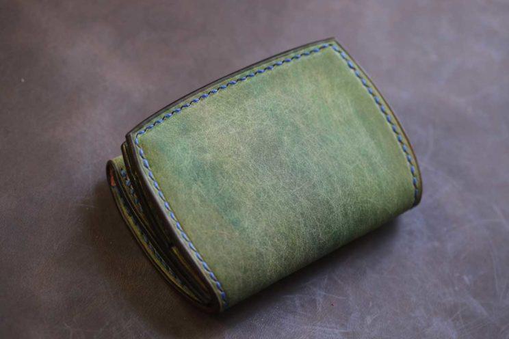プエブロ風起毛革黄緑カード入れつきコインケース