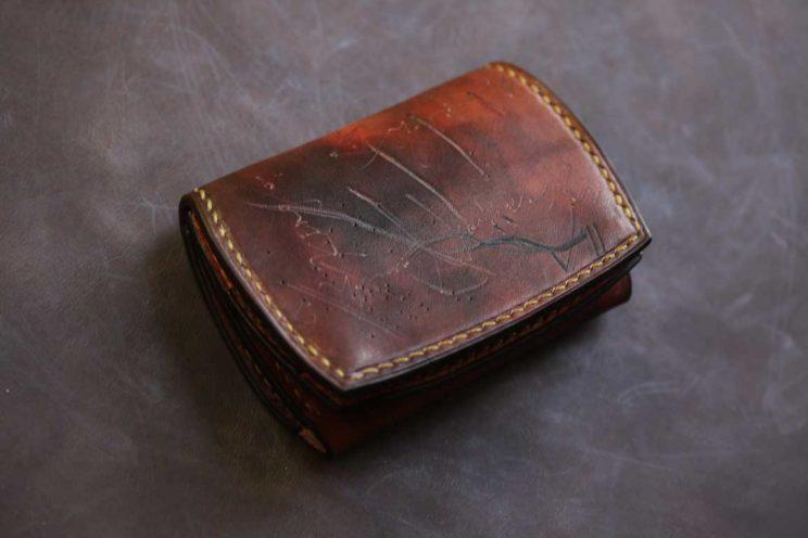 アンティーク風革カード入れつきコインケース