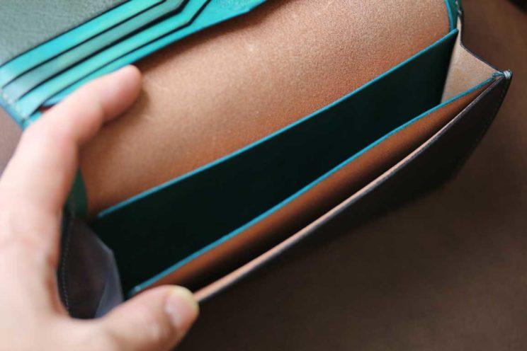 ネイビー札束専用スキモレザー装飾革財布