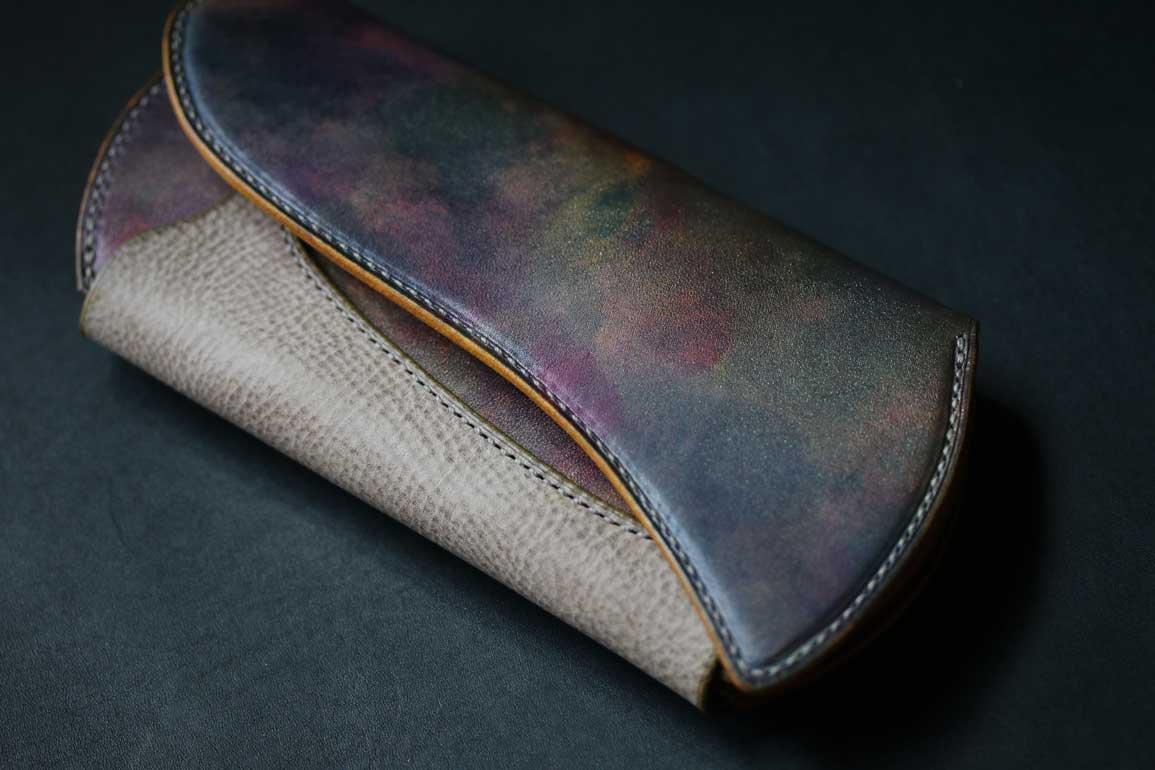 紫個性的財布世界にひとつ
