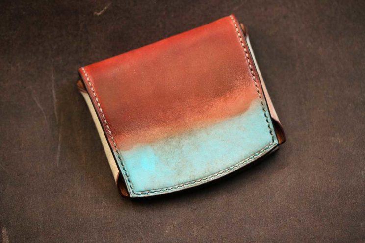 赤錆水色コンパクト財布