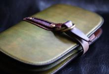 The Leaf Notebook グリーン×ブラウン×ブラック エイ革インレイ