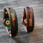 The Inlay Bracelet グリーン ワインレッド