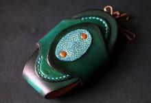 The Egg Keycase  ディープグリーン ムラ染め エイ革