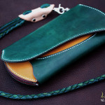 The Peafowl wallet グリーン×イエロー×ピンク