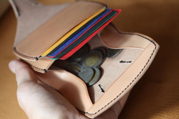 ヌメ革コインケース カード入れつき