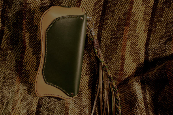 The Lion's Back wallet ナチュラル×グリーン