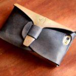 iPhoneシームレスケース  ネイビー×光る銅
