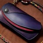 The Leather Armor wallet バイオレット×レッド×ブラウン 左右反転バージョン