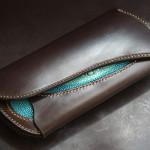 The Peafowl wallet ブラック ブライドルレザー エイ革インレイ