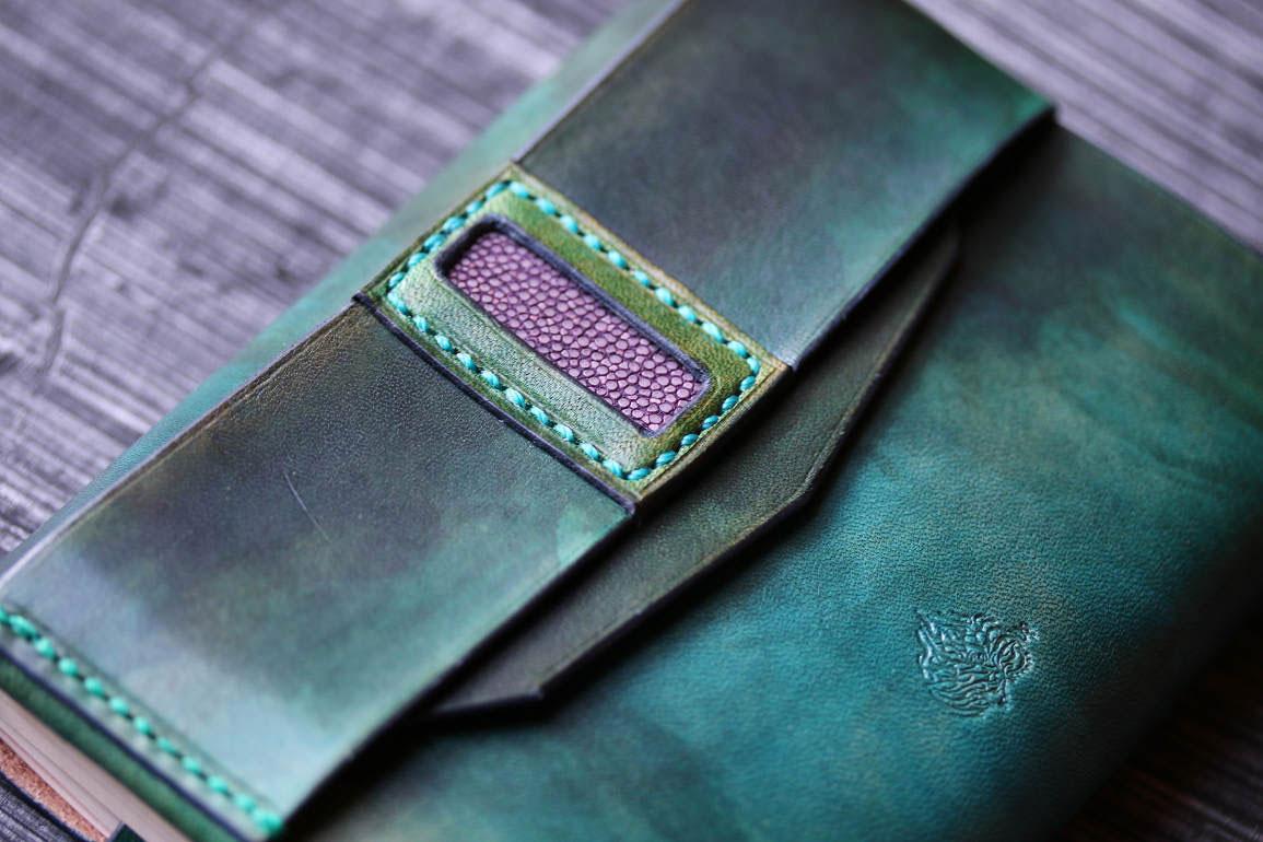 文庫本カバーエイ革装飾ブルーグリーン