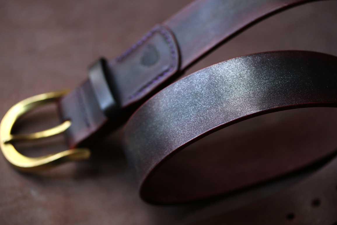 多脂ベンズヌメ革ベルト4センチ4ミリ厚