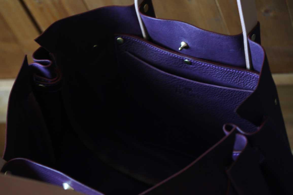 エルバマットシボトートバッグ バイオレット